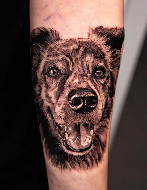 learn how to do realistic dog tattoo